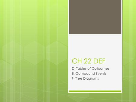 CH 22 DEF D: Tables of Outcomes E: Compound Events F: Tree Diagrams.