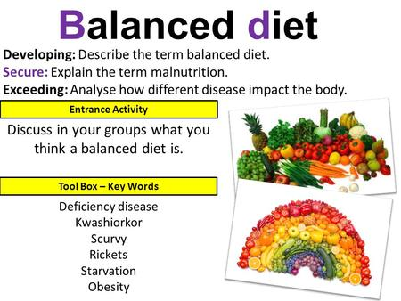 Developing: Describe the term balanced diet. Secure: Explain the term malnutrition. Exceeding: Analyse how different disease impact the body. Balanced.