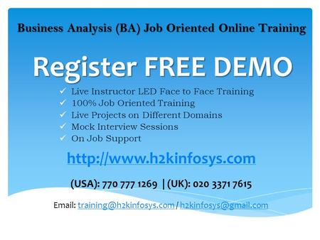 Register FREE DEMO Live Instructor LED Face to Face Training 100% Job Oriented Training Live Projects on Different Domains Mock Interview Sessions On Job.