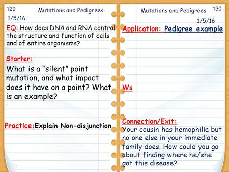 "1/5/16 Starter: What is a ""silent"" point mutation, and what impact does it have on a point? What is an example? 1/5/16 Mutations and Pedigrees Application:"