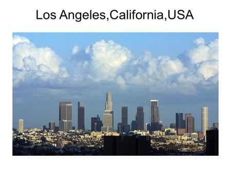 Los Angeles,California,USA. Los Angeles is the largest city of California. It's located in the south west of the United States. It has an estimated population.