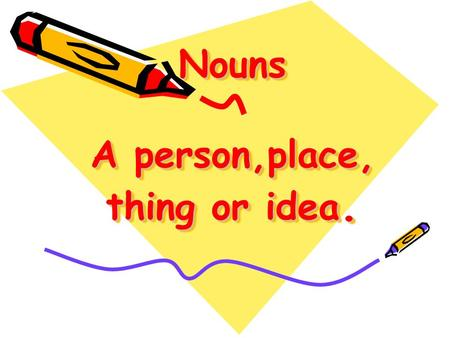 Nouns A person,place, thing or idea.. A common noun names a person, place, or thing. Examples: dog, car, city COMMON NOUNS.