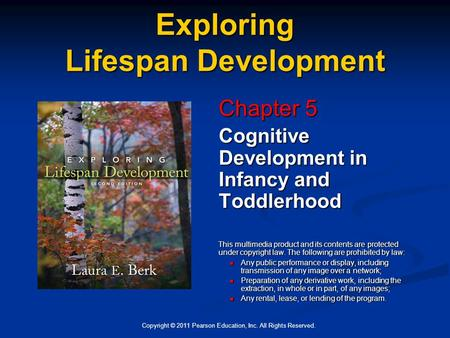 Copyright © 2011 Pearson Education, Inc. All Rights Reserved. Exploring Lifespan <strong>Development</strong> Chapter 5 Cognitive <strong>Development</strong> in Infancy and Toddlerhood.