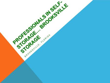 PROFESSIONALS IN SELF- STORAGE… BROOKSVILLE STORAGE BROOKSVILLE, FLORIDA.