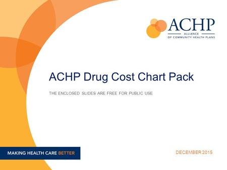 THE ENCLOSED SLIDES ARE FREE FOR PUBLIC USE DECEMBER 2015 ACHP Drug Cost Chart Pack.