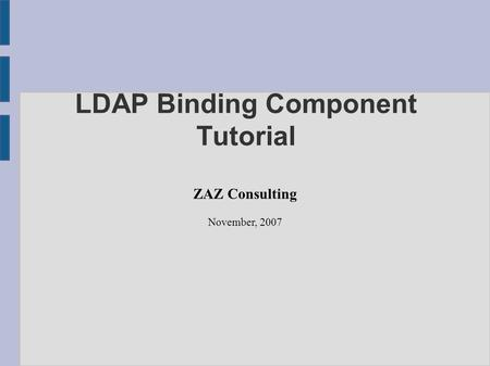 LDAP Binding Component Tutorial ZAZ Consulting November, 2007.