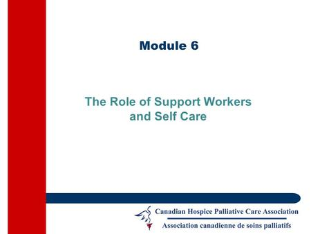 Module 6 The Role of Support Workers and Self Care.