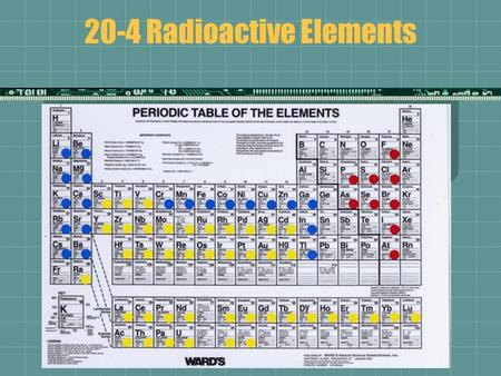 20-4 Radioactive Elements. Nuclear Reaction  Involve the particles in the nucleus of atoms  Can change one element into a new element if the number.