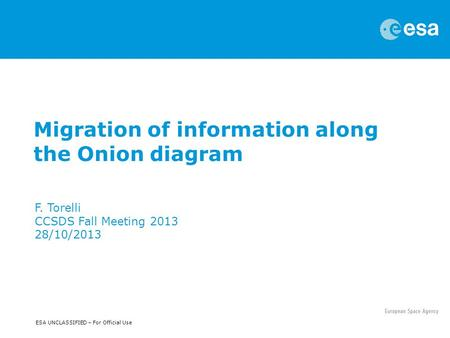 ESA UNCLASSIFIED – For Official Use Migration of information along the Onion diagram F. Torelli CCSDS Fall Meeting 2013 28/10/2013.