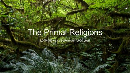 The Primal Religions 3,000,000 years before our 4,000 years.