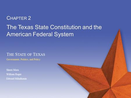 The Texas State Constitution and the American Federal System C HAPTER 2.