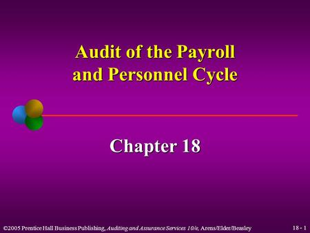 ©2005 Prentice Hall Business Publishing, Auditing and Assurance Services 10/e, Arens/Elder/Beasley 18 - 1 Audit of the Payroll and Personnel Cycle Chapter.