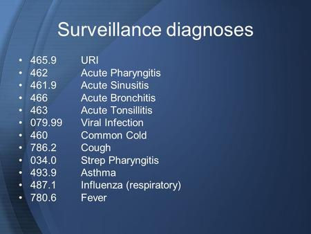 Surveillance diagnoses 465.9URI 462Acute Pharyngitis 461.9Acute Sinusitis 466Acute Bronchitis 463Acute Tonsillitis 079.99Viral Infection 460Common Cold.