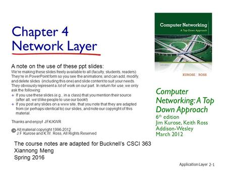 Application Layer 2-1 Chapter 4 Network Layer Computer Networking: A Top Down Approach 6 th edition Jim Kurose, Keith Ross Addison-Wesley March 2012 A.
