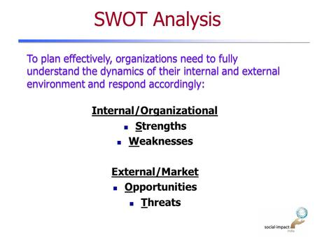 SWOT Analysis Internal/Organizational Strengths Weaknesses External/Market Opportunities Threats To plan effectively, organizations need to fully understand.