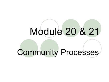 Module 20 & 21 Community Processes. Ecological Niche Role the species plays in an ecosystem; Habitat Conditions – physical and chemical Resources Fundamental.