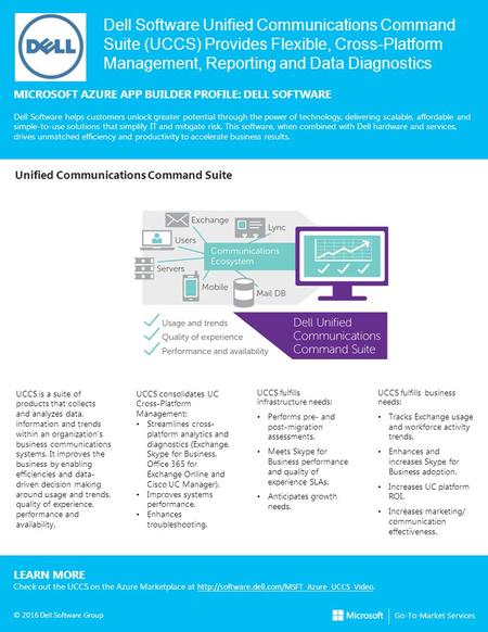 Dell Software Unified Communications Command Suite (UCCS) Provides Flexible, Cross-Platform Management, Reporting and Data Diagnostics MICROSOFT AZURE.