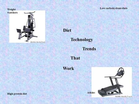 Weight watchers Atkins Low carbohydrate diets High protein diet Diet Technology Trends That Work.