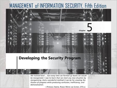 MANAGEMENT of INFORMATION SECURITY, Fifth Edition.