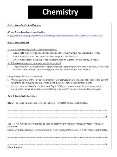Part 1: Download a Specification AS and A level combined specification