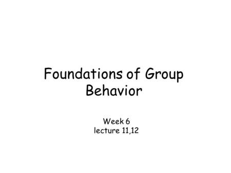 Foundations of Group Behavior Week 6 lecture 11,12.