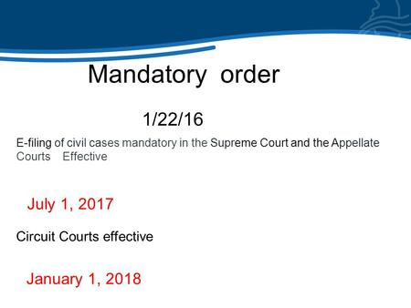 The Illinois e-filing experience Mandatory order 1/22/16 E-filing of civil cases mandatory in the Supreme Court and the Appellate Courts Effective July.