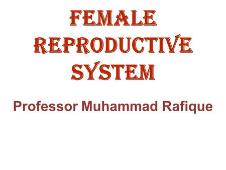 Female reproductive system Professor Muhammad Rafique.