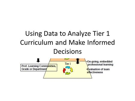 Using Data to Analyze Tier 1 Curriculum and Make Informed Decisions.