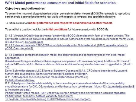 WP11 Model performance assessment and initial fields for scenarios. Objectives and deliverables To determine, how well biogeochemical ocean general circulation.
