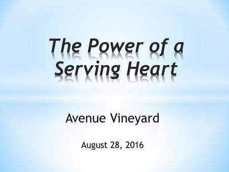 Avenue Vineyard August 28, 2016. Money, Sex, and Power.