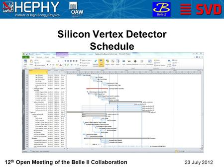 Silicon Vertex Detector Schedule 23 July 2012 Christian Irmler (HEPHY Vienna) 12 th Open Meeting of the Belle II Collaboration.