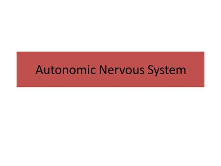 Autonomic Nervous System. The Autonomic Nervous System and Visceral Sensory Neurons.