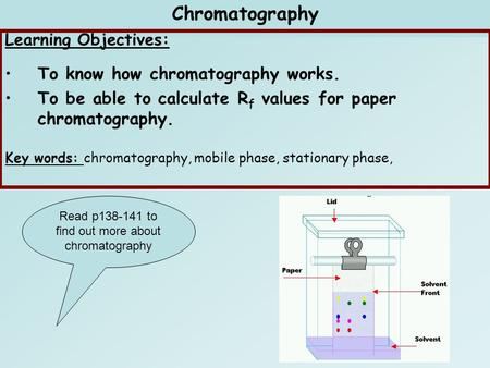 C1 Air quality IC1.1 Chromatography Learning Objectives: To know how chromatography works. To be able to calculate R f values for paper chromatography.