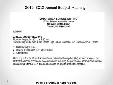 Page 2 of Annual Report Book 2011- 2012 Annual Budget Hearing.