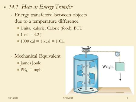 APHY201 10/1/2016 1 14.1 Heat as Energy Transfer   Energy transferred between objects due to a temperature difference Units: calorie, Calorie (food),