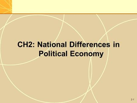 2-1 CH2: National Differences in Political Economy.