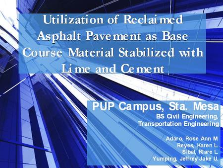 Introduction Old asphalt pavements Increase demand in landfill areas and landfill costs Landfill areas.