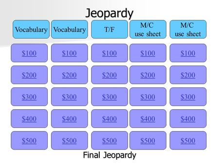 Jeopardy $100 Vocabulary T/F M/C use sheet M/C use sheet $200 $300 $400 $500 $400 $300 $200 $100 $500 $400 $300 $200 $100 $500 $400 $300 $200 $100 $500.