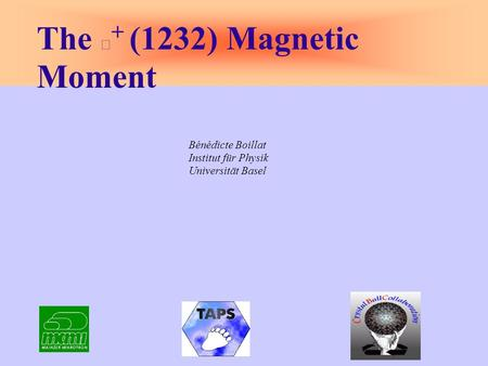Bénédicte Boillat Institut für Physik Universität Basel The + (1232) Magnetic Moment.