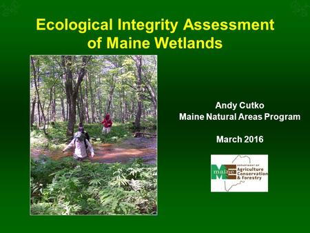 Ecological Integrity Assessment of Maine Wetlands Andy Cutko Maine Natural Areas Program March 2016.