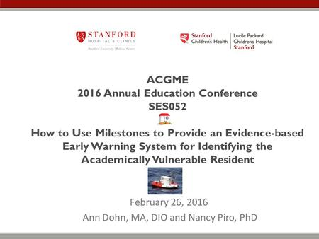 ACGME 2016 Annual Education Conference SES052 How to Use Milestones to Provide an Evidence-based Early Warning System for Identifying the Academically.