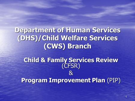 1 Department of Human Services (DHS)/Child Welfare Services (CWS) Branch Child & Family Services Review (CFSR) & Program Improvement Plan (PIP)