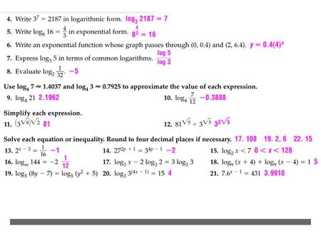 Exponential functions Logarithmic functions - ppt download