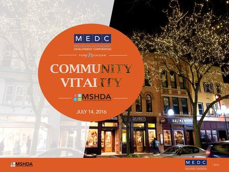 Community Development Supporting the growth of vibrant, diverse and resilient communities across Michigan FY2016 Realignment between MSHDA and MEDC Community.