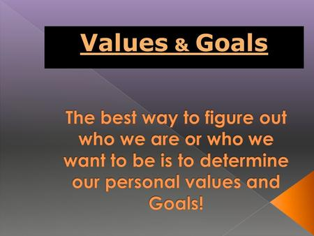 Values & Goals. A. Anything that is DESIRABLE, WORTHWHILE, and IMPORTANT B. Influenced by FAMILY, FRIENDS, TEACHERS, COACHES, TV, MOVIES, etc. C. Each.