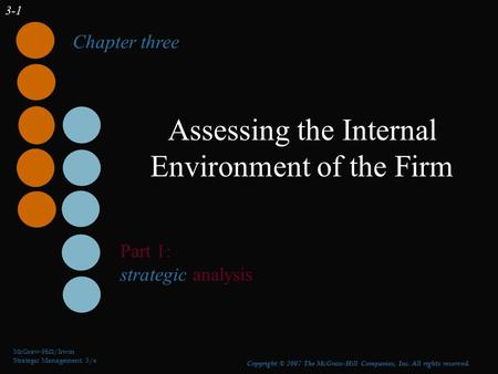 3-1 Assessing the Internal Environment of the Firm McGraw-Hill/Irwin Strategic Management, 3/e Copyright © 2007 The McGraw-Hill Companies, Inc. All rights.