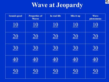 Wave at Jeopardy Sounds goodProperties of Waves In real lifeMix it upWave phenomena 10 20 30 40 50.