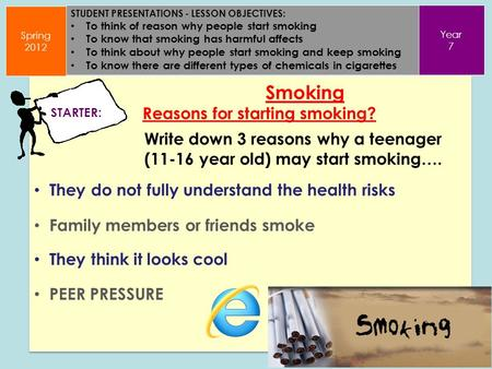 STUDENT PRESENTATIONS - LESSON OBJECTIVES: To think of reason why people start smoking To know that smoking has harmful affects To think about why people.