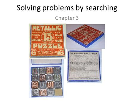 Solving problems by searching Chapter 3. Types of agents Reflex agent Consider how the world IS Choose action based on current percept Do not consider.