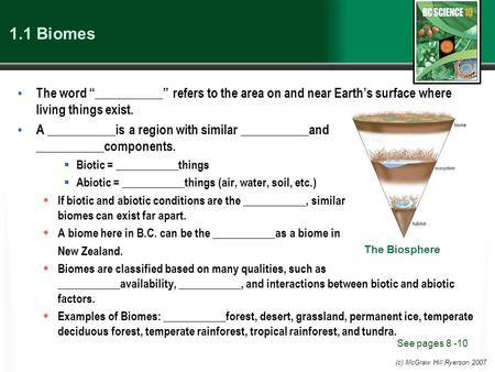 "(c) McGraw Hill Ryerson 2007 1.1 Biomes The word ""___________"" refers to the area on and near Earth's surface where living things exist. A ___________is."